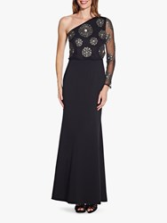 Adrianna Papell Beaded One Sleeve Asymmetric Maxi Dress Black