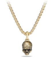 David Yurman Cable Classics Enhancer 18K Gold Skull Pendant