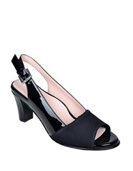 Taryn Rose Fortula Patent Leather Slingback Heels Black