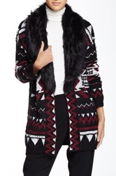 Romeo And Juliet Couture Printed Faux Fur Shawl Collar Cardigan Black