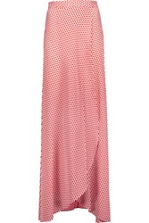 Alexis Wrap Effect Printed Silk Chiffon Maxi Skirt Red
