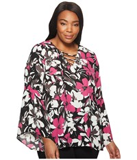 B Collection By Bobeau Plus Size Dawn Flare Sleeve Blouse Floral Magenta Women's Blouse White
