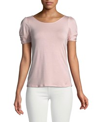 Casual Couture Scoop Neck Knotted Sleeve Tee Mauve