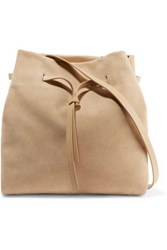 Halston Olivia Leather And Suede Shoulder Bag Ivory