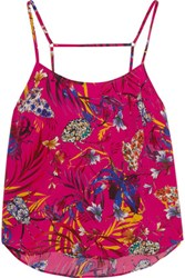 Matthew Williamson Printed Washed Silk Top Bright Pink