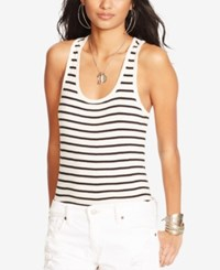 Denim And Supply Ralph Lauren Striped Ribbed Racerback Tank Breton Stripe Black