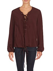 Saks Fifth Avenue Long Sleeve Lace Up Blouse Black
