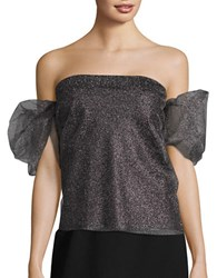 Necessary Objects Off The Shoulder Metallic Tulle Top Silver