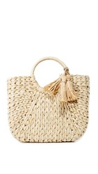 Hat Attack Small Round Handle Tote Natural Silver
