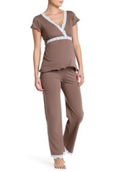 Belabumbum Ariel Maternity Nursing Cami And Pant Pj Set Maternity Brown