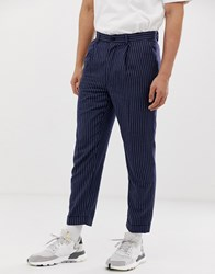 Bellfield Cropped Tapered Pinstripe Trousers Navy