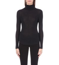 French Connection Marian High Neck Jersey Top Black