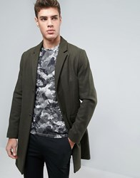 Pull And Bear Pullandbear Wool Overcoat In Khaki Khaki Green
