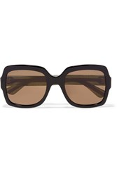 Gucci Oversized Square Frame Glittered Acetate Sunglasses Black