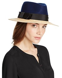Kate Spade New York Wool And Raffia Fedora Navy