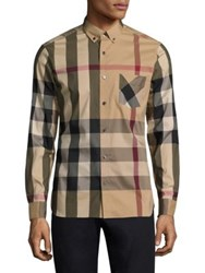 Burberry Thornaby Check Casual Button Down Shirt Camel