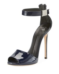 Giuseppe Zanotti Ankle Strap Patent Leather Dress Sandal Blue