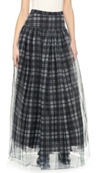 Haute Hippie Plaid Mesh Crinoline Maxi Skirt Black Swan