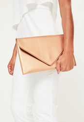 Missguided Rose Pink Faux Leather Envelope Clutch