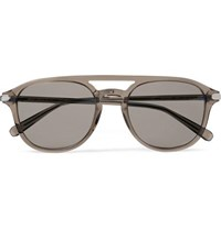 Brioni Aviator Style Acetate Sunglasses Brown