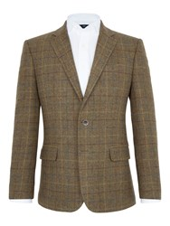 Paul Costelloe Kensington Overcheck Wool Blazer Green