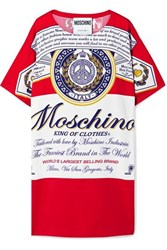 Moschino Budweiser Printed Stretch Crepe Mini Dress Red