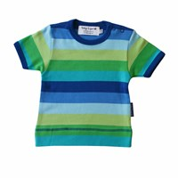 Toby Tiger Blue Stripe Short Sleeve T Shirt Blue Green