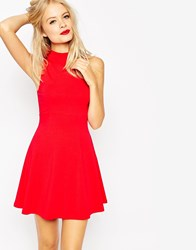 Asos High Neck Empire Dress Red