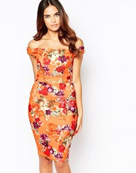 Jessica Wright Jada Midi Pencil Dress In Floral Print Orange Floral