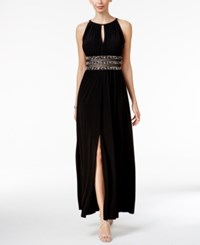 R And M Richards Beaded Gathered Keyhole Gown Black