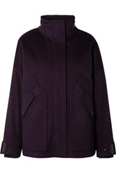 Loro Piana Convertible Leather Trimmed Cashmere And Quilted Shell Coat Grape