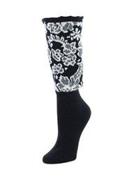 Natori Floral Crew Boot Topper Black