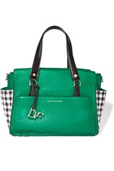 Diane Von Furstenberg Houndstooth Paneled Textured Leather Tote Green