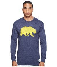 The Original Retro Brand Cal Bear Long Sleeve Tri Blend Tee Streaky Navy Men's T Shirt Blue
