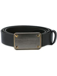 Dolce And Gabbana Logo Plaque Buckle Belt Black