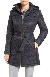 Vince Camuto Women's Belted Mixed Quilted Coat With Detachable Hood Navy