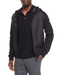 Moncler Mixed Media Zip Hoodie Black