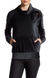 Leibl '38 Velour Lace Up Detail Pullover Black