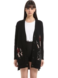 Valentino Intarsia Wool And Cashmere Cardigan