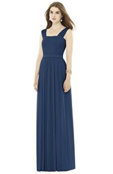 Women's Alfred Sung Pleat Chiffon Knit A Line Gown With Belt Midnight