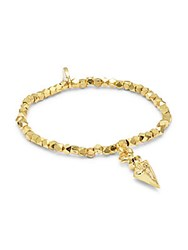 Mhart 18K Gold And Sterling Silver Stretch Bracelet Yellow