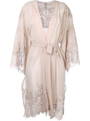 Gold Hawk Lace Trim Wrap Dress Pink Purple