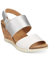 White Mountain Teller Wedge Sandals Women's Shoes White Pewter