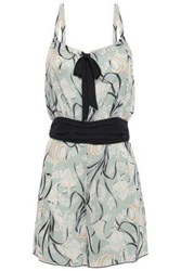 Anna Sui Woman Bow Detailed Printed Woven Playsuit Grey Green