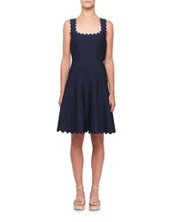 Alaia Tonal Wave Scalloped Knee Length Dress Navy