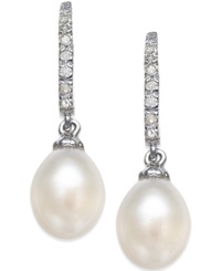 No Vendor Cultured Freshwater Pearl 6 1 2 7Mm And Diamond 1 10 Ct. T.W. Drop Earrings In Sterling Silver