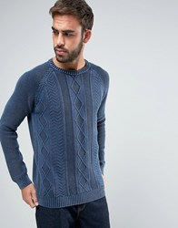Asos Cable Knit Jumper With Denim Look Wash Denim Blue