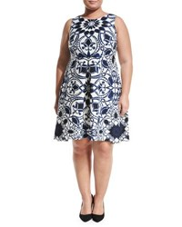 Taylor Plus Printed Scuba Fit And Flare Dress Blue White