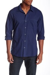 Velvet By Graham And Spencer Solid Color Button Front Long Sleeve Classic Fit Shirt Blue