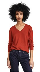 Vince Weekend V Neck Cashmere Sweater Adobe Red